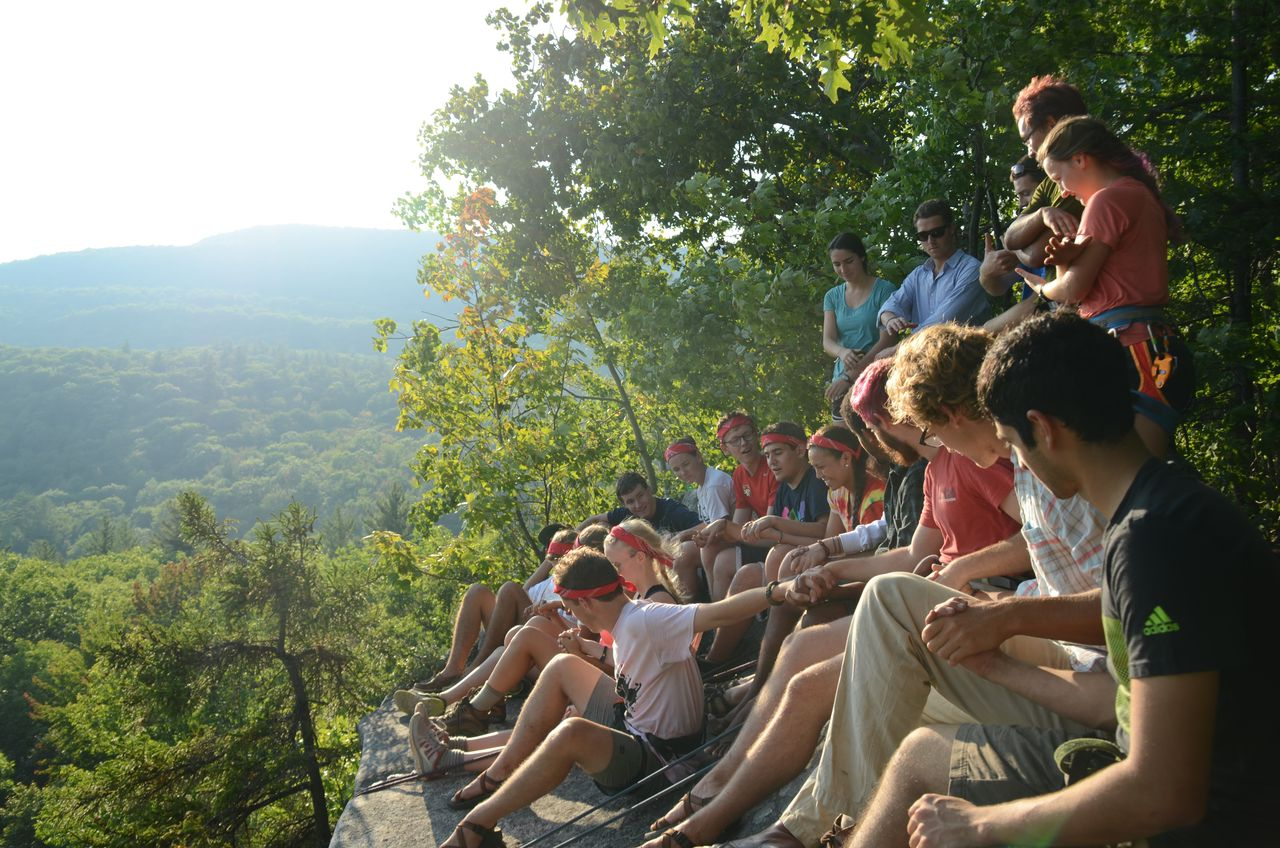 First-years enjoying the view after a day of climbing.
